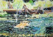 Moving Water. Kalkaska County, 2006. 36 x 24 in, acrylic on canvas.